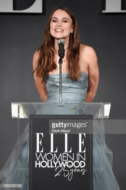 Keira Knightley speaks onstage during ELLE's 25th Annual Women In Hollywood Celebration presented by L'Oreal Paris, Hearts On Fire and CALVIN KLEIN...