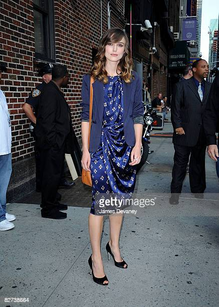 "Keira Knightley visits ""Late Show with David Letterman"" at the Ed Sullivan Theatre on September 8, 2008 in New York City."