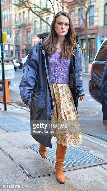 Keira Knightley walks to the set of Collateral Beauty on February 29 2016 in New York City