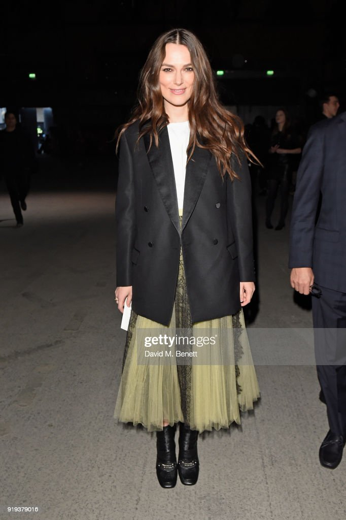 Keira Knightley wearing Burberry at the Burberry February 2018 show during London Fashion Week at Dimco Buildings on February 17, 2018 in London, England.