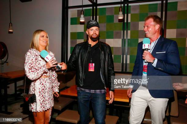 Keira Maguire Byron Cooke and Jarrod Woodgate attend the Fox FM Thank U Ex Singles Party on August 22 2019 in Melbourne Australia