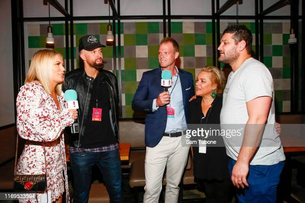 Keira Maguire Byron Cooke Jarrod Woodgate Yvie Jones and Brendan Fevola attend the Fox FM Thank U Ex Singles Party on August 22 2019 in Melbourne...