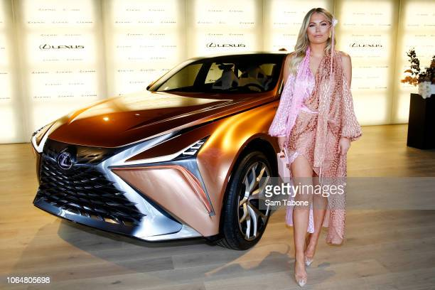 Keira Maguire poses at the Lexus Marquee on Oaks Day at Flemington Racecourse on November 08 2018 in Melbourne Australia