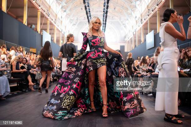 Keira Maguire wears Jason Grech ahead of Runway 3 at Melbourne Fashion Festival on March 12 2020 in Melbourne Australia
