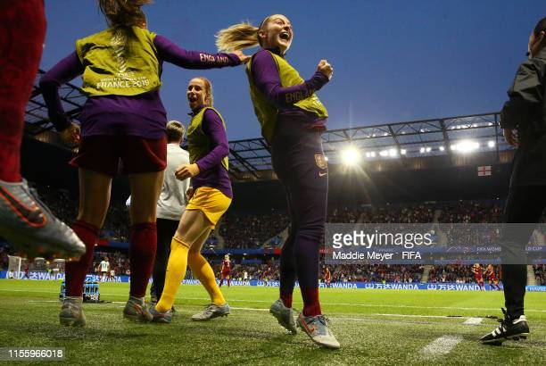 Keira Walsh of England celebrates from the bench as Jodie Taylor of England scores their team's first goal during the 2019 FIFA Women's World Cup...