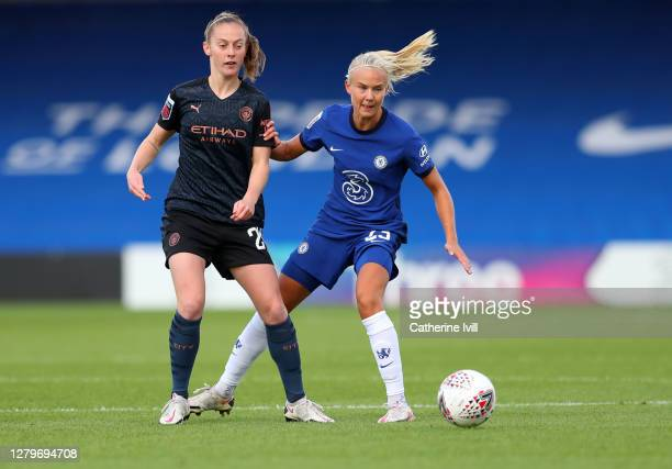 Keira Walsh of Manchester City and Pernille Harder of Chelsea during the Barclays FA Women's Super League match between Chelsea Women and Manchester...