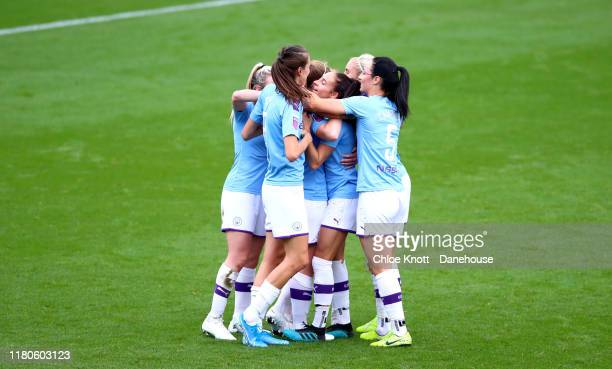 Keira Walsh of Manchester City celebrates scoring her teams first goal during the Barclays FA Women's Super League match between Manchester City and...