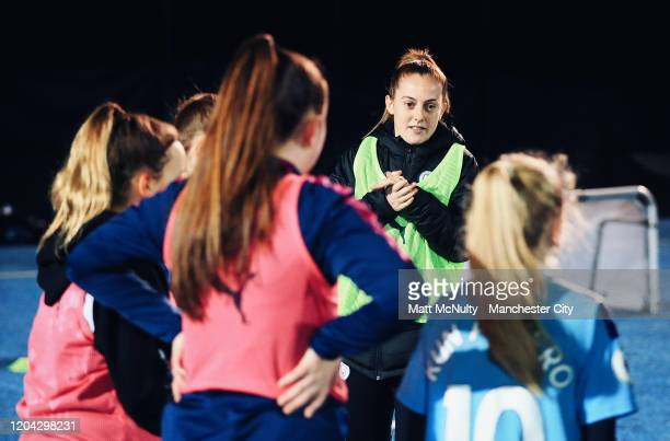 Keira Walsh of Manchester City takes part in the #SameGoals clinic to promote girls football at Manchester City Football Academy on February 05, 2020...
