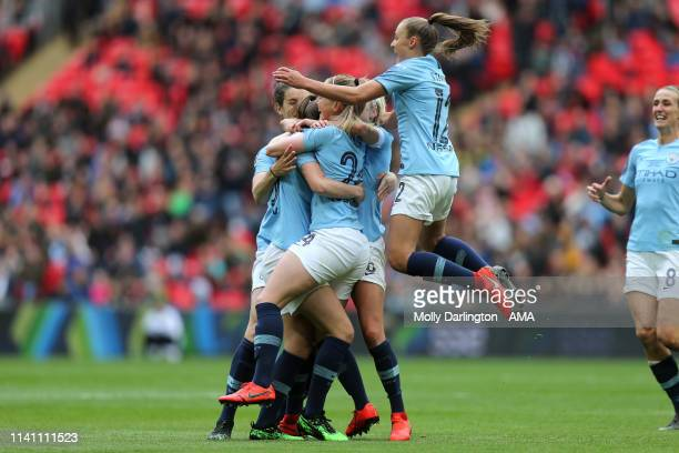 Keira Walsh of Manchester City Women celebrates with team mates after scoring a goal to make it 10 during the Women's FA Cup Final match between...
