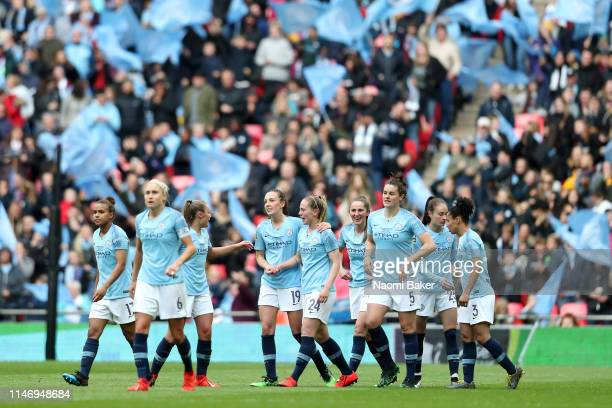 Keira Walsh of Manchester City Women celebrates with teammates after scoring her team's first goal during the Women's FA Cup Final match between...