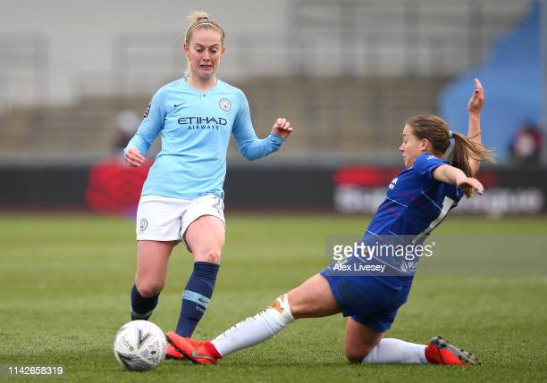 Keira Walsh of Manchester City Women is tackled by Fran Kirby of Chelsea Women during the Women's FA Cup Semi Final match between Manchester City...