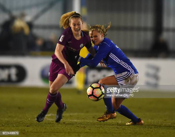 Keira Walsh of Manchester City Women is tackled by Marissa Ewers of Birmingham City Ladies during the WSL match between Birmingham City Ladies and...