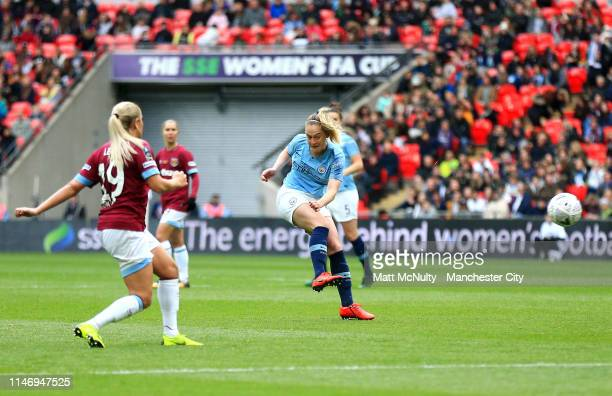 Keira Walsh of Manchester City Women scores her team's first goal during the Women's FA Cup Final match between Manchester City Women and West Ham...