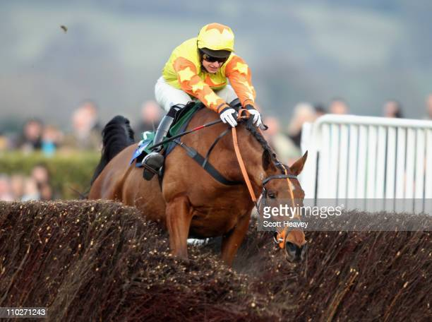 Keiran Burke wins the Byrne Group Plate Steeple Chase on Holmwood Legend at Cheltenham Racecourse on March 17 2011 in Cheltenham England