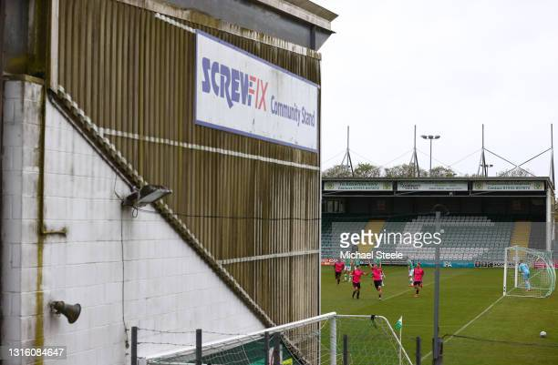 Keiran Green of Halifax celebrates scoring his side's second gaol during the Vanarama National League match between Yeovil Town and F.C Halifax at...