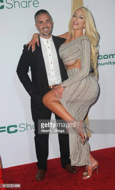 Keiran Lee and Nicolette Shea arrive for the 2018 XBIZ Awards held at J.W. Marriot at L.A. Live on January 18, 2018 in Los Angeles, California.