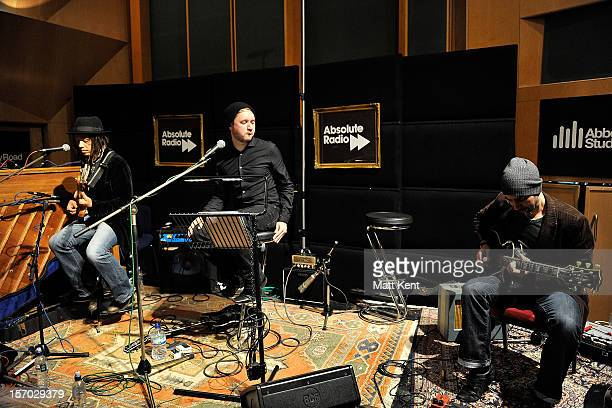 Keiran Scragg of IKO performs at the Acoustic Sessions with Absolute Radio for emerging artists at Abbey Road Studios on November 27 2012 in London...