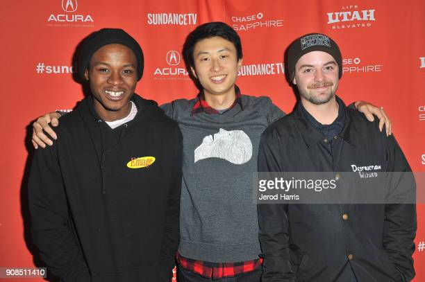 Keire Johnson director Bing Liu and Zack Mulligan attends the Minding The Gap Premiere during the 2018 Sundance Film Festival at Egyptian Theatre on...