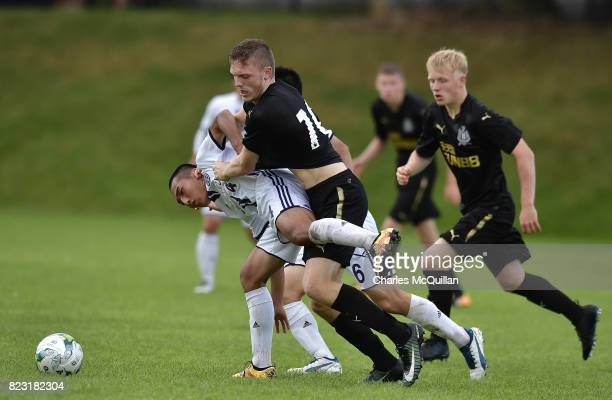 Keiren Aplin of Newcastle United and Yosuke Hatori of Komazawa University FC during the Super Cup NI u18 tournament group game between Newcastle...