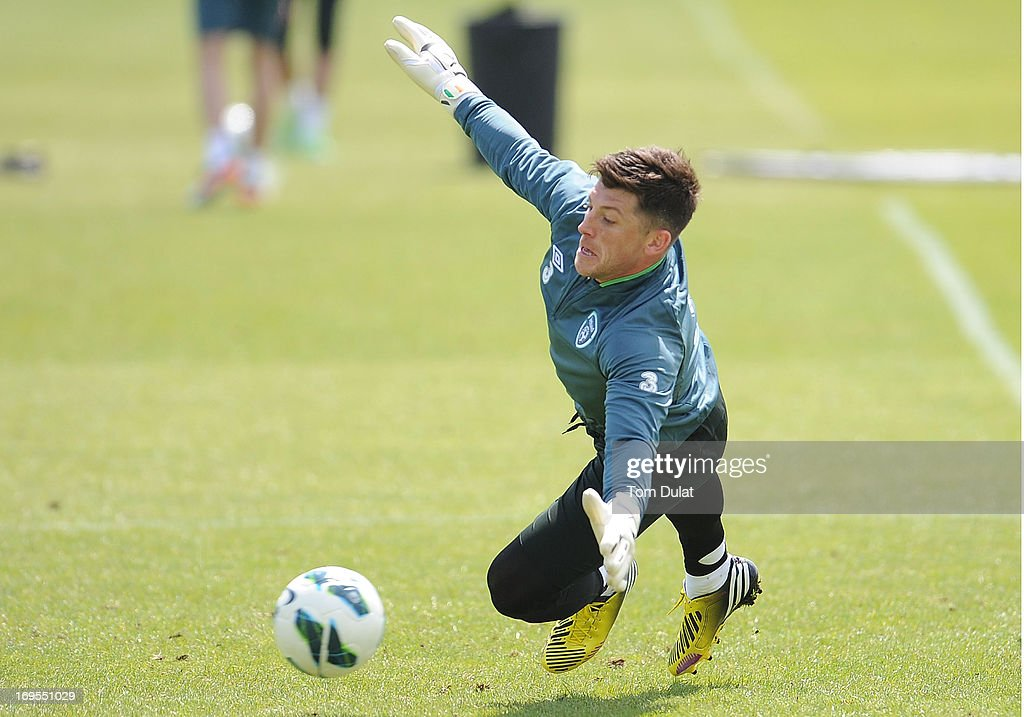 Keiren Westwood in action during the Ireland training session at Watford FC Training Ground on May 27, 2013 in London Colney, England.