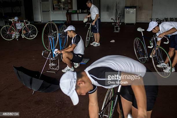 Keirin students prepare their bikes ahead of training at the Nihon Keirin Gakkou on July 8 2015 in Izu Japan Keirin is a form of cycle racing...