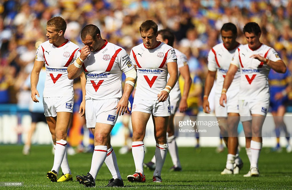Keiron Cunningham of St Helens looks on, after his team lost to Leeds Rhinos during the Carnegie Challenge Cup Semi Final match between Leeds Rhinos and St. Helens at the Galpharm Stadium on August 7, 2010 in Huddersfield, England.