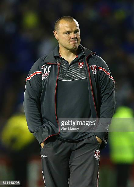 Keiron Cunningham the coach of St Helens looks on after defeat to Warrington Wolves in the First Utility Super League Semi Final match between...