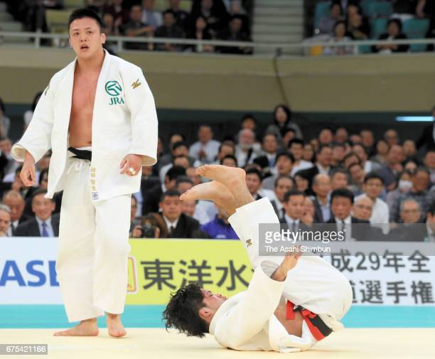 Keisei Ikeda reacts after winning against Shohei Ono in the second round during the All Japan Judo Championship at Nippon Budokan on April 29 2017 in...