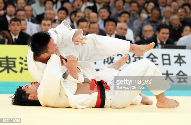 Keisei Ikeda throws Shohei Ono to win by Ippon in the second round during the All Japan Judo Championship at Nippon Budokan on April 29 2017 in Tokyo...