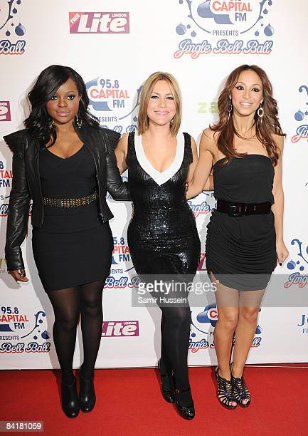 Keisha Buchana Heidi Range and Amelle Berrabah of the Sugababes pose at The Jingle Bell Ball at the O2 Arena on December 10 2008 in London England