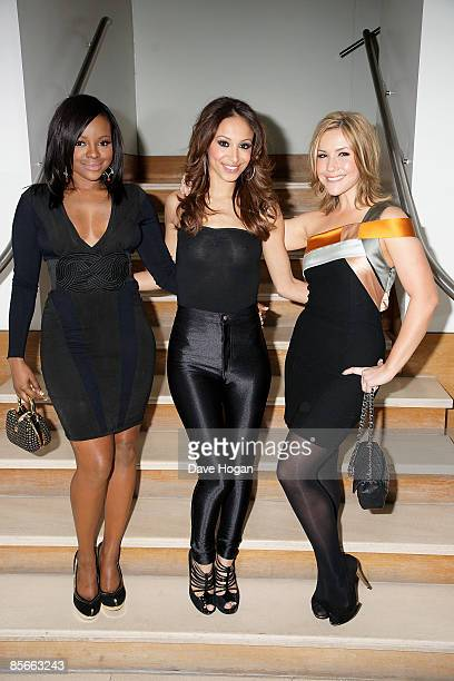 Keisha Buchanan Amelle Berrabah and Heidi Range of the Sugababes pose before signing a record deal with JayZ's record label at Nobu Park Lane on...