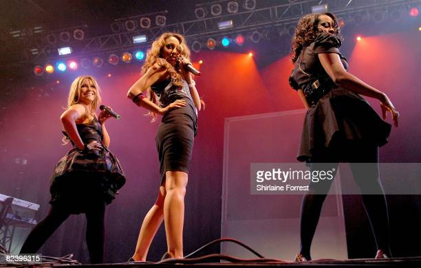 Keisha Buchanan Heidi Range and Amelle Berrabah of Sugababes perform at day two of the V Festival at Weston Park on August 17 2008 in Telford England