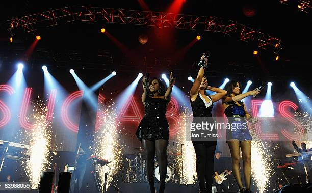 LONDON DECEMBER 10 Keisha Buchanan Heidi Range and Amelle Berrabah of the Sugababes perform during the show at Capital FM's Jingle Bell Ball held at...