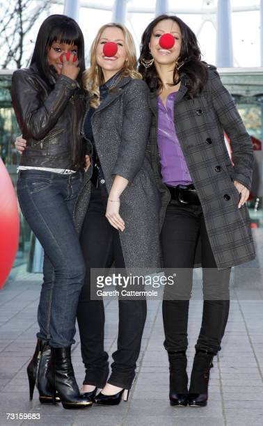 Keisha Buchanan Heidi Range and Amelle Berrabah of The Sugababes launch Red Nose Day at The British Airways London Eye on January 31 2007 in London...