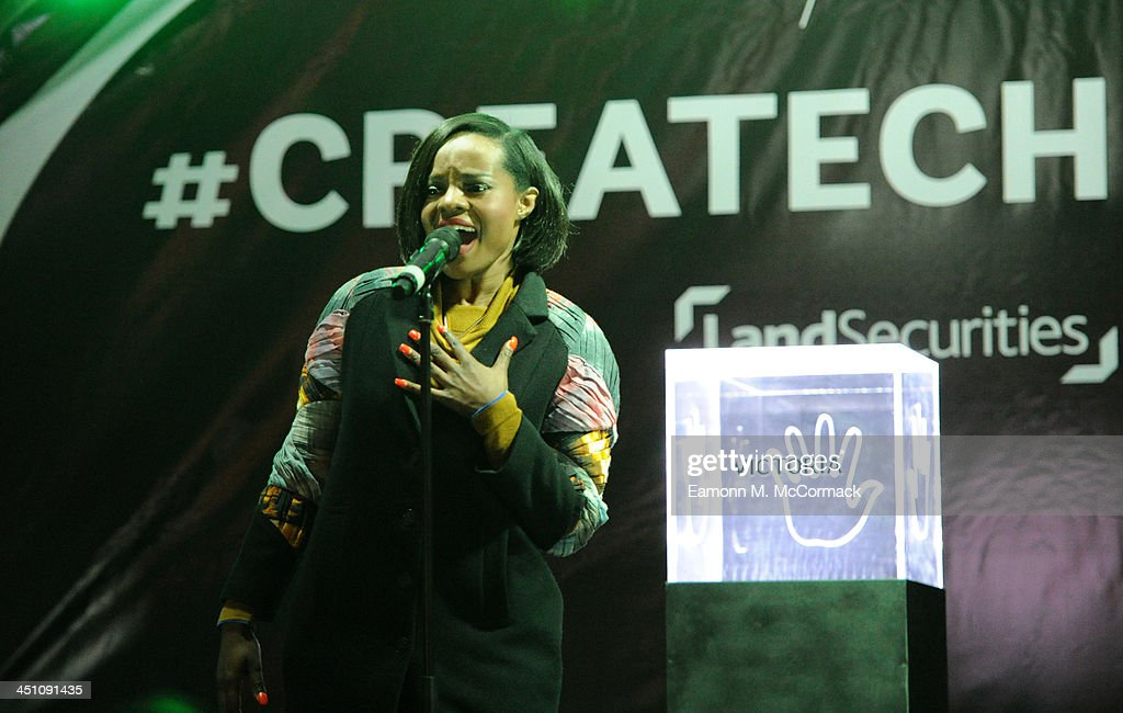 Keisha Buchanan of the Original Sugababes Mutya Keisha Siobhan (MKS) officially switched on Victoria's lights and launch the 90ft outdoor #CreateChristmas photography exhibition at Cardinal Place on November 21, 2013 in London, England.