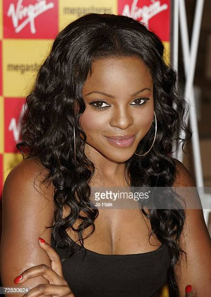 Keisha Buchanan of the Sugababes poses at the Virgin Megastore on Oxford Street for the launch of their new album 'Overloaded The Singles Collection'...