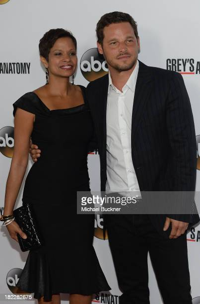 Keisha Chambers and Justin Chambers arrive at the Grey's Anatomy 200th Episode Celebration at The Colony on September 28 2013 in Los Angeles...