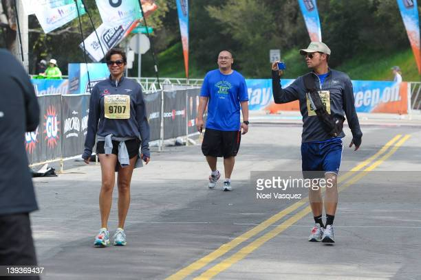 Keisha Chambers and Justin Chambers attend the Rock n' Roll Marathon Pasadena at the Rose Bowl on February 19 2012 in Pasadena California