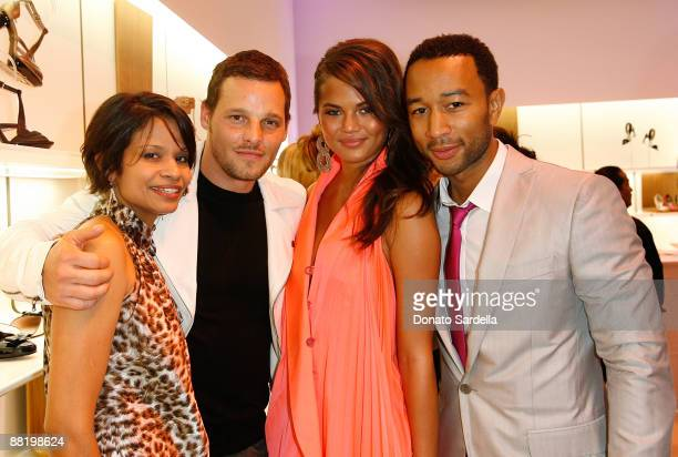Keisha Chambersactor Justin Chambers Christine Teigen and musician John Legend attend the Ferragamo event with Debi Mazar and Adrian Grenier to...