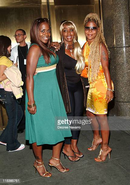 Keisha Jones Janice Combs and guest during Olympus Fashion Week Spring 2006 Baby Phat Arrivals at Radio City Music Hall in New York City New York...
