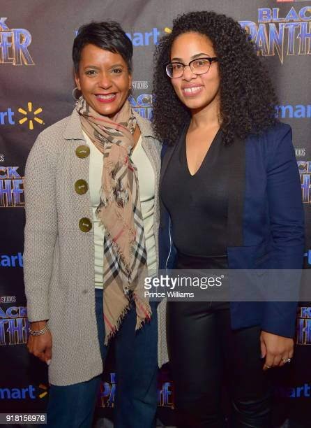 Keisha Lance Bottoms and Regina Moore attend 'Black Panther' Advance Screening at Regal Hollywood on February 13 2018 in Chamblee Georgia