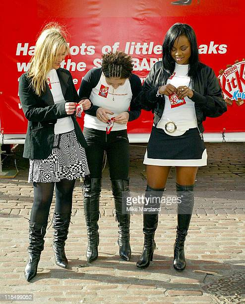 Keisha Mutya and Heidi from the Sugababes during The Sugababes Part of the new Ad Campaign for KitKat Cubes at Covent Garden in London United Kingdom