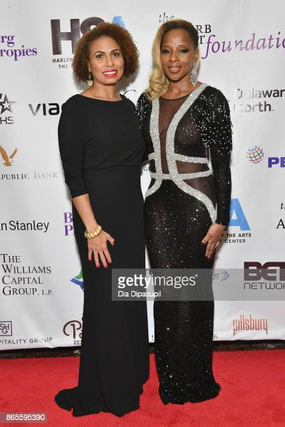 Keisha SuttonJames and singer Mary J Blige attends HSA Masquerade Ball on October 23 2017 at The Plaza Hotel in New York City