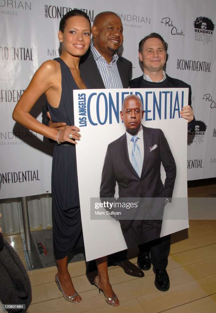Keisha Whitaker, Forest Whitaker and Jason Binn during Los Angeles Confidential Magazine in Association with Morgans Hotel Group Celebrates the 2007 Oscars with Forest Whitaker, Rob Clark and Hendrix Electric Vodka - Arrivals at Skybar at Mondrian Hotel in Los Angeles, California, United States.
