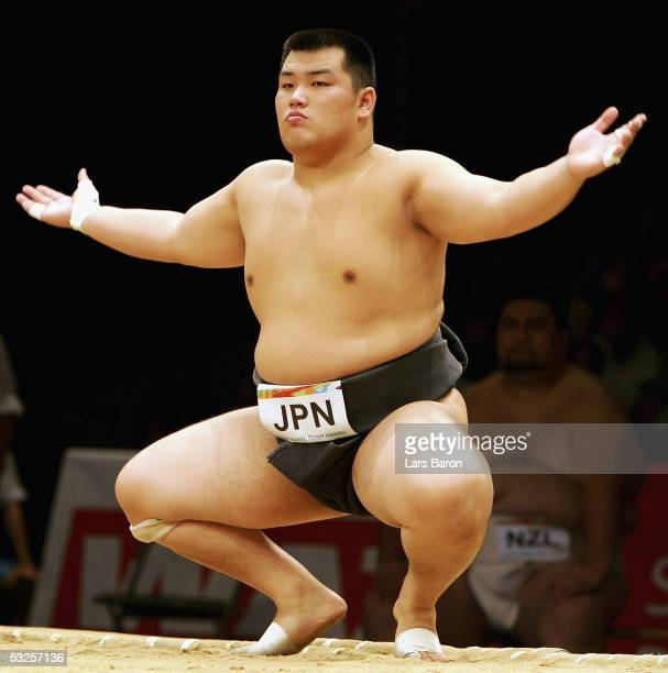 Keisho Shimoda from Japan prepares for the fight during the World Games 2005 Sumo Competition on July 19 2005 in Duisburg Germany