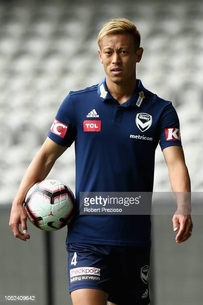 Keisuke Honda completes a training session during a Melbourne Victory ALeague training session at Marvel Stadium on October 18 2018 in Melbourne...