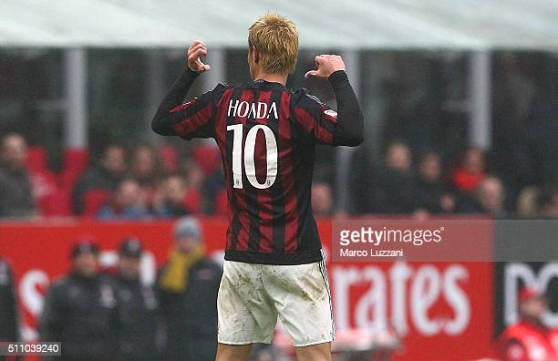 Keisuke Honda of AC Milan celebrates his goal during the Serie A match between AC Milan and Genoa CFC at Stadio Giuseppe Meazza on February 14 2016...