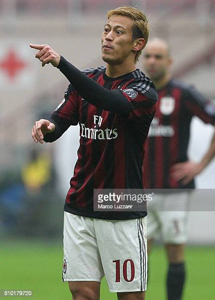 Keisuke Honda of AC Milan gestures during the Serie A match between AC Milan and Genoa CFC at Stadio Giuseppe Meazza on February 14 2016 in Milan...