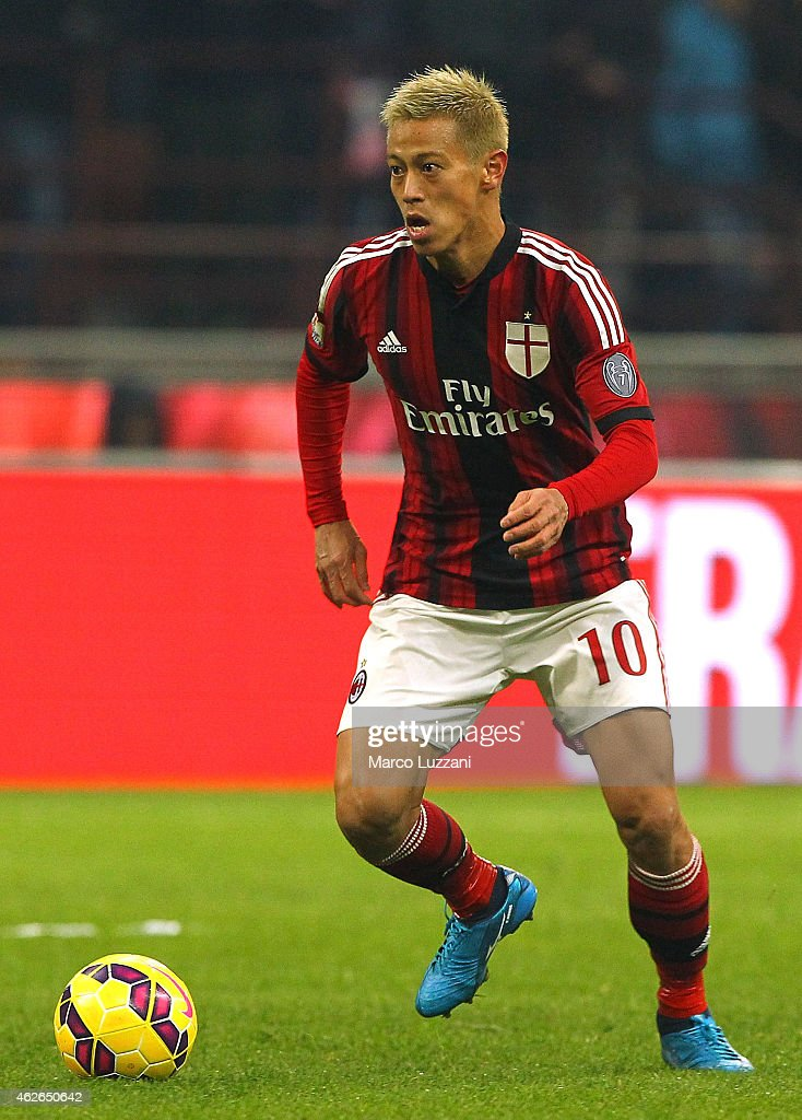 Keisuke Honda of AC Milan in action during the TIM Cup match between AC Milan and SS Lazio at Stadio Giuseppe Meazza on January 27, 2015 in Milan, Italy.
