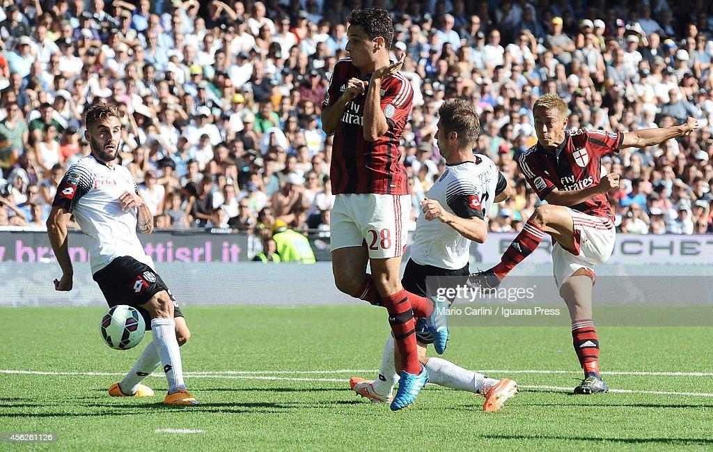 Keisuke Honda # 10 of AC Milan kicks towards the goal during the Serie A match between AC Cesena and AC Milan at Dino Manuzzi Stadium on September 28, 2014 in Cesena, Italy.